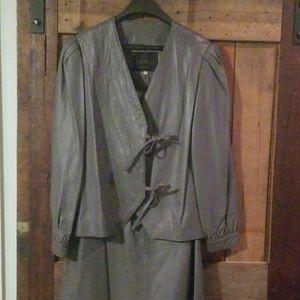 Vintage Fendi leather jacket and skirt